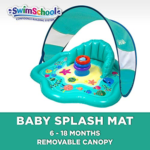 SwimSchool Baby Splash Mat with Backrest (No Canopy), Extra-Wide Inflatable Mat with Three Toys, 6...