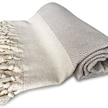 ZesteDesign Oversized XL Turkish Bath Towel (38 x 73 inches, Beige and White) Luxury Cotton Extra Large Towels for the Beach, Spa, Pool or Lounge Chair