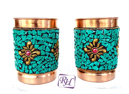 Rastogi Handicrafts Pure Copper Glass Drinkware Set Dinnerware Tableware Outer Decorated