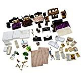 Dovewill Plastic 1:25 Scale Mini Simulation Family House Model Kits DIY Landscape Layout Christmas Gift Kids Toys Black