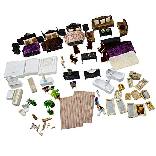 Dovewill Plastic 1:25 Scale Mini Simulation Family House Model Kits DIY Landscape Layout Christmas Gift Kids Toys Black by Dovewill