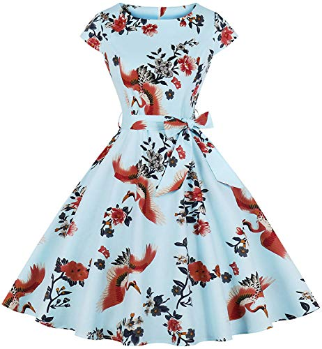 Womens Cap Sleeve Floral Print Picnic Party Vintage 1950s a-Line Cocktail Tea Dress Dr04 (Blue&Birds, S)