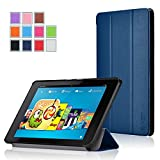 Fire HD 6 Case - Exact Amazon Fire HD 6 Case [SLENDER Series] - Ultra Slim Lightweight Smart-Shell Stand Case for Amazon Fire HD 6 (2014) (With Auto Wakes/Sleep Function) Navy Blue