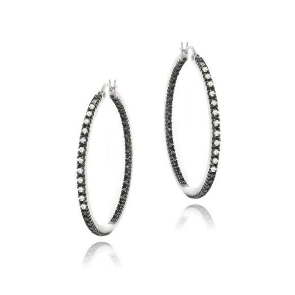 0702533e4 Amazon.com: Sterling Silver Simulated Diamond 35MM Inside-Out Hoop Earrings:  Jewelry