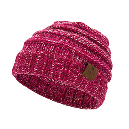 (Zando Baby Girls Fashion Hats Winter Cute Cozy Chunky Caps Infant Toddler Children's Beanies 0-4 Years Old Rose Red White)