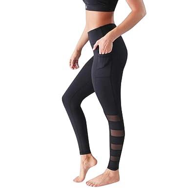 5040e75a8f9713 Women's Stretchy Skinny Sheer Mesh Insert Workout Leggings Yoga Tights  Power Flex Yoga Workout Running Leggings