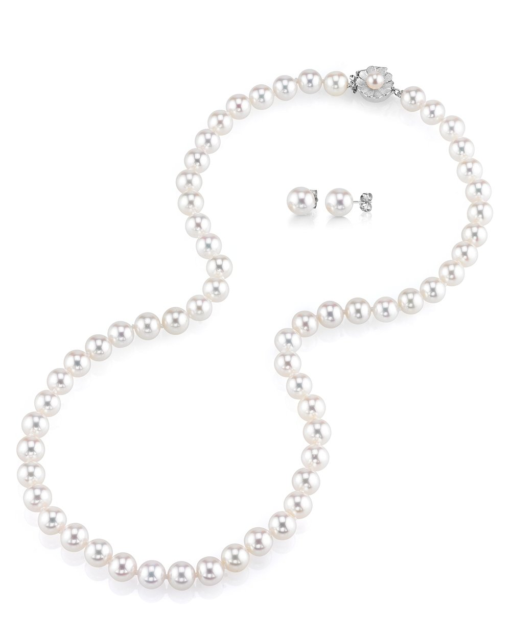 THE PEARL SOURCE AAAA Quality 7-8mm Round White Freshwater Cultured Pearl Necklace & Earrings Set with 14K White Gold Flower Clasp for Women