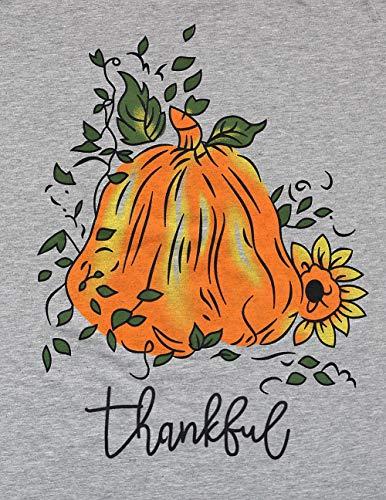 7ca09a22fad Thanksgiving Shirts Womens Thankful Pumpkin and Sunflower 3 4 Sleeve Raglan  Baseball Graphic Tee Tops