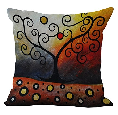 Linen Blend Tree Of Life Pattern Sofa Seat Cushion Cover Cotton Pillowslip Square Decorative Throw Pillow Case 18 X 18 pattern 4