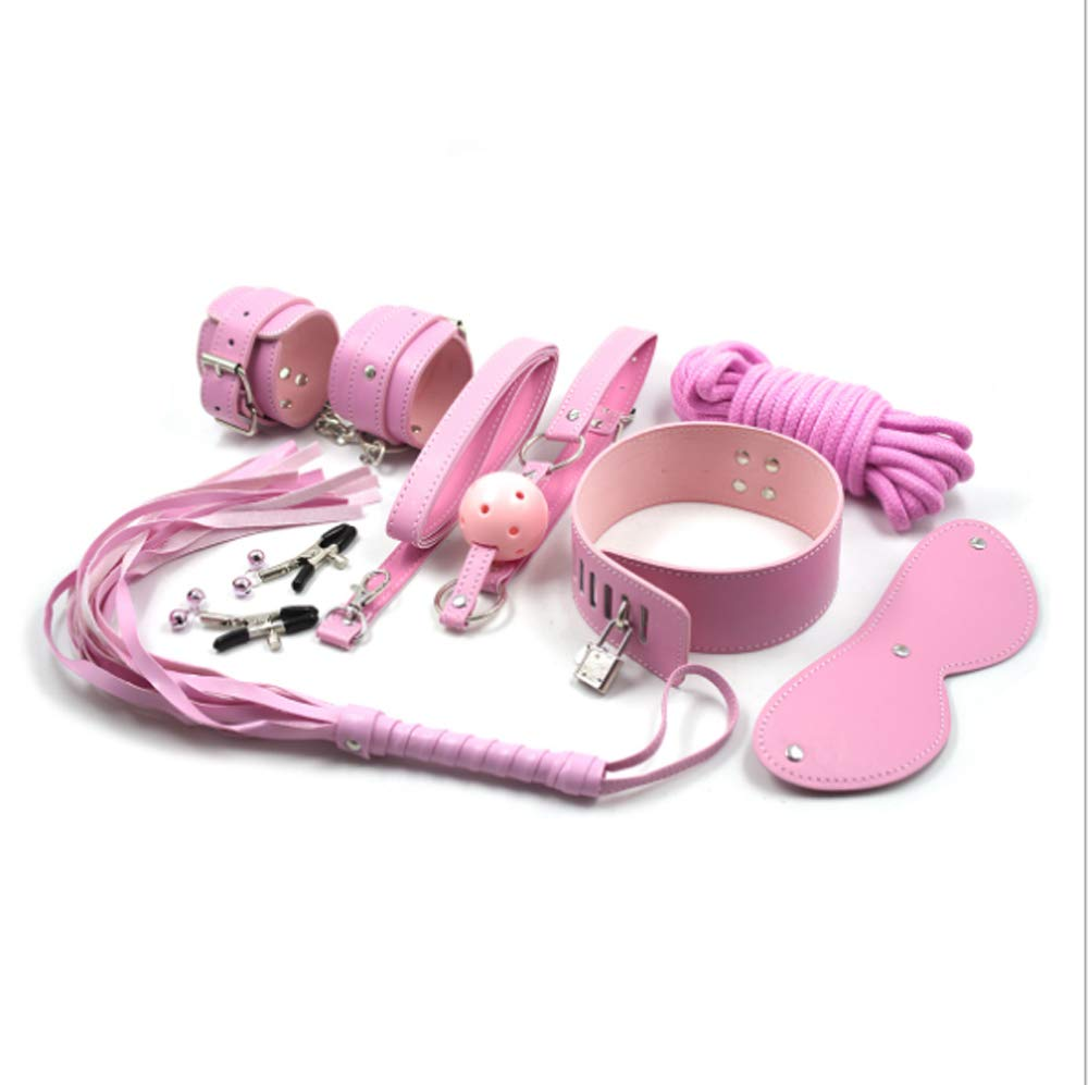 7 PCS Leather Bondage Sets, Restraint Kit for Set with Blindfold Ball Whip, for Male Female Couple,Pink by Fad-J
