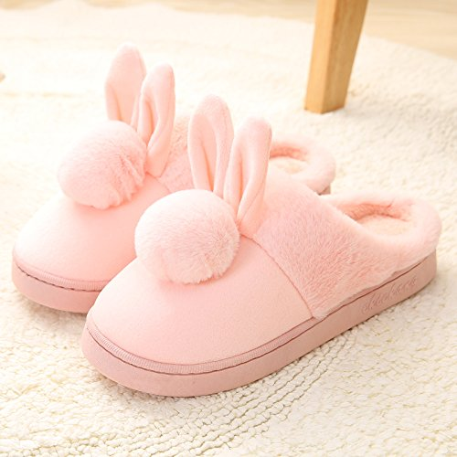 Cotone habuji inverno pacchetto al coperto con una spessa home piano antiscivolo carino home inverno pantofole pantofole uomini e donne, 36-37, B-rosa