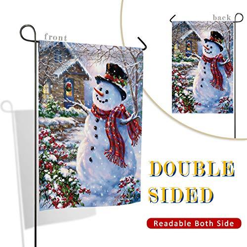 Christmas Snowman and Warm House Garden Flag, Vertical Doubl