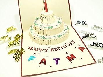 SUPERBE NEUF Rabattable Carte De Voeux Visite Quot Fatma A