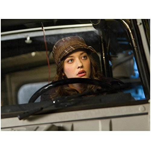 2 Broke Girls Kat Dennings as Max Black Driving in Brown Plaid Hat 8 x 10 inch photo