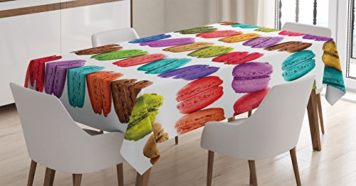 Ambesonne Colorful Tablecloth, French Macarons in a Row Coffee Shop Cookies Flavours Pastry Bakery Food Design, Rectangular Table Cover for Dining Room Kitchen Decor, 60