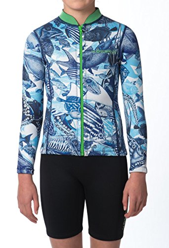 WETSUIT JACKET ULTA-STRETCH, DOUBLE LAYERED, LUXURIOUS, BOUTIQUE DESIGNS FOR KIDS YOUTH - FISH design (Large (12-14y))