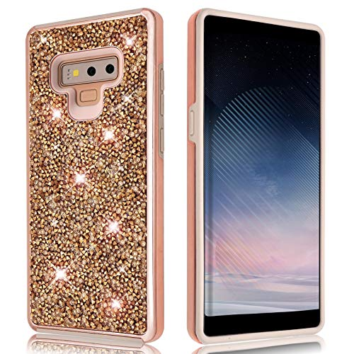 Samsung Galaxy Note 9 Glitter Shiny Bling Sequin Sparkle Diamond Hybrid Rubber Hard Crystal Heavy Duty Protective Phone Case Cover for Samsung Galaxy Note9 (Rose Gold)
