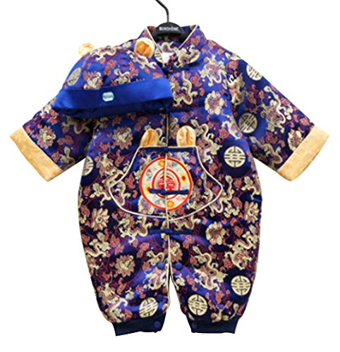 CRB Fashion Baby Newborn Boy Girls Chinese New Years Asian Shirt Outfit ... (8 to 10 Months, Blue)]()