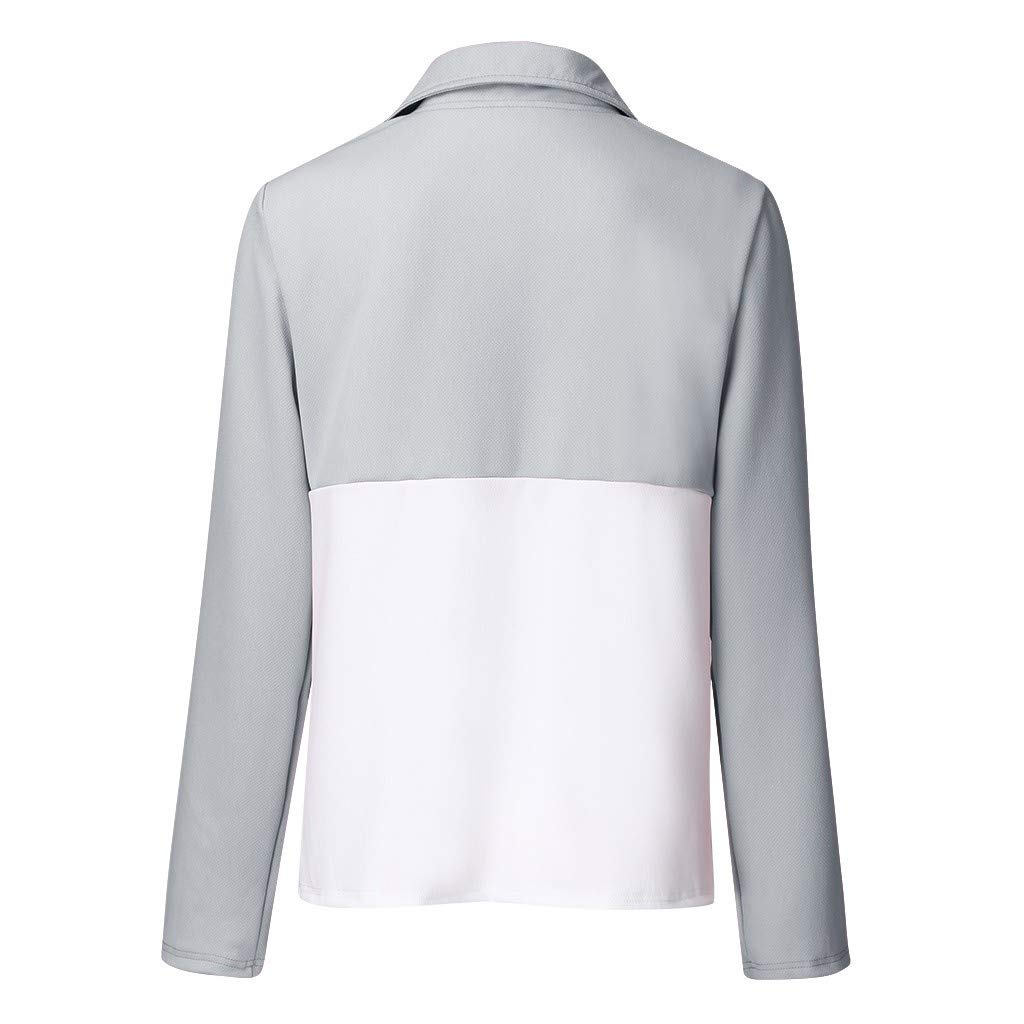 Meikosks Womens Color Block Tops Long Sleeve Button Pullover Causal Loose T Shirt