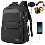 "Anti Theft Business Laptop Backpack, with w / USB Charging Port Headphone Hole and Shockproof Compartment, Water Resistant Casual College Computer Backpack for Men Women Fits 15.6""Laptop / Notebook"