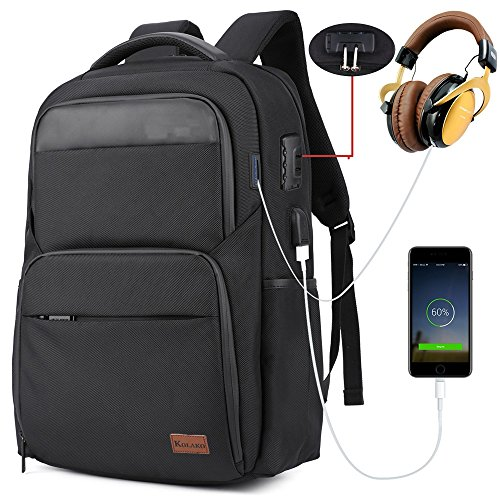 Anti Theft Business Laptop Backpack, Water Resistant Travel Backpack with USB Charging Port for Men, College Student Computer Bag Fits 15.6Laptop / Notebook Daypack for Weekend Outdoor Camping(Black)