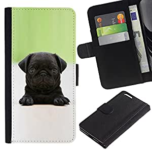 Billetera de Cuero Caso del tirón Titular de la tarjeta Carcasa Funda del zurriago para Apple Iphone 6 PLUS 5.5 / Business Style Baby Pug Puppy Black Tiny Cute Dog