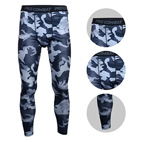 BeneU® Mens Camouflage Sports Running Basketball Compression Tight Leggings Pants(Style:Blue Camouflage Size:L)