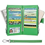 Wallet for Women- Womens RFID Blocking Genuine Leather Bifold Multi Card Case Wallet with Zipper Pockets(Green)