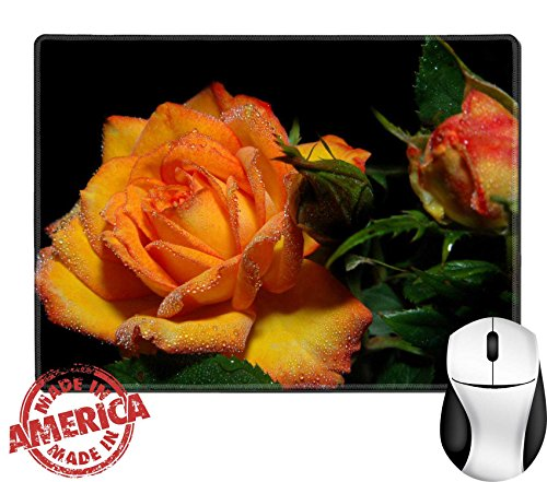 """Luxlady Natural Rubber Mouse Pad/Mat with Stitched Edges 9.8"""" x 7.9"""" Beautiful rose with drops of natural dew No glycerine The background is blacked specially out IMAGE ID - For Free Blacked"""
