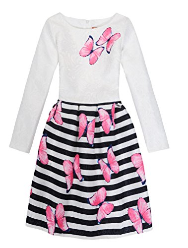 (Mallimoda Girl's Long Sleeve Floral Print Party Princess Dress White 10 5-6 Years)