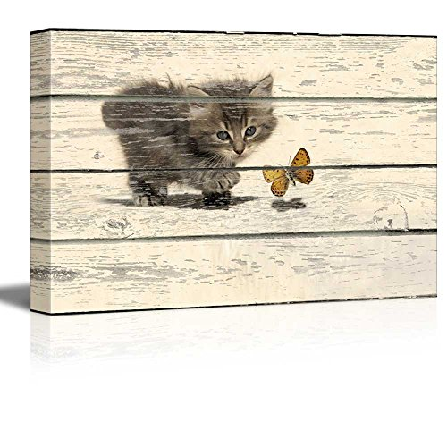 (wall26 - Canvas Wall Art - Little Kitty Chasing a Butterfly on Vintage Wood Textured Background - Rustic Country Style Modern Giclee Print Gallery Wrap Home Decor Ready to Hang - 12