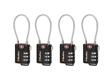 TSA Aprobado Cable equipaje cerraduras, Set-your-own combinación cuerpo de aleación de