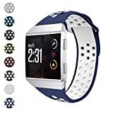 Watbro Bands Compatible with Fitbit Ionic, Two-Toned Perforated Soft Silicone Replacement Wristbands Accessory, Breathable Sport Straps for Ionic Smart Watch Large Small
