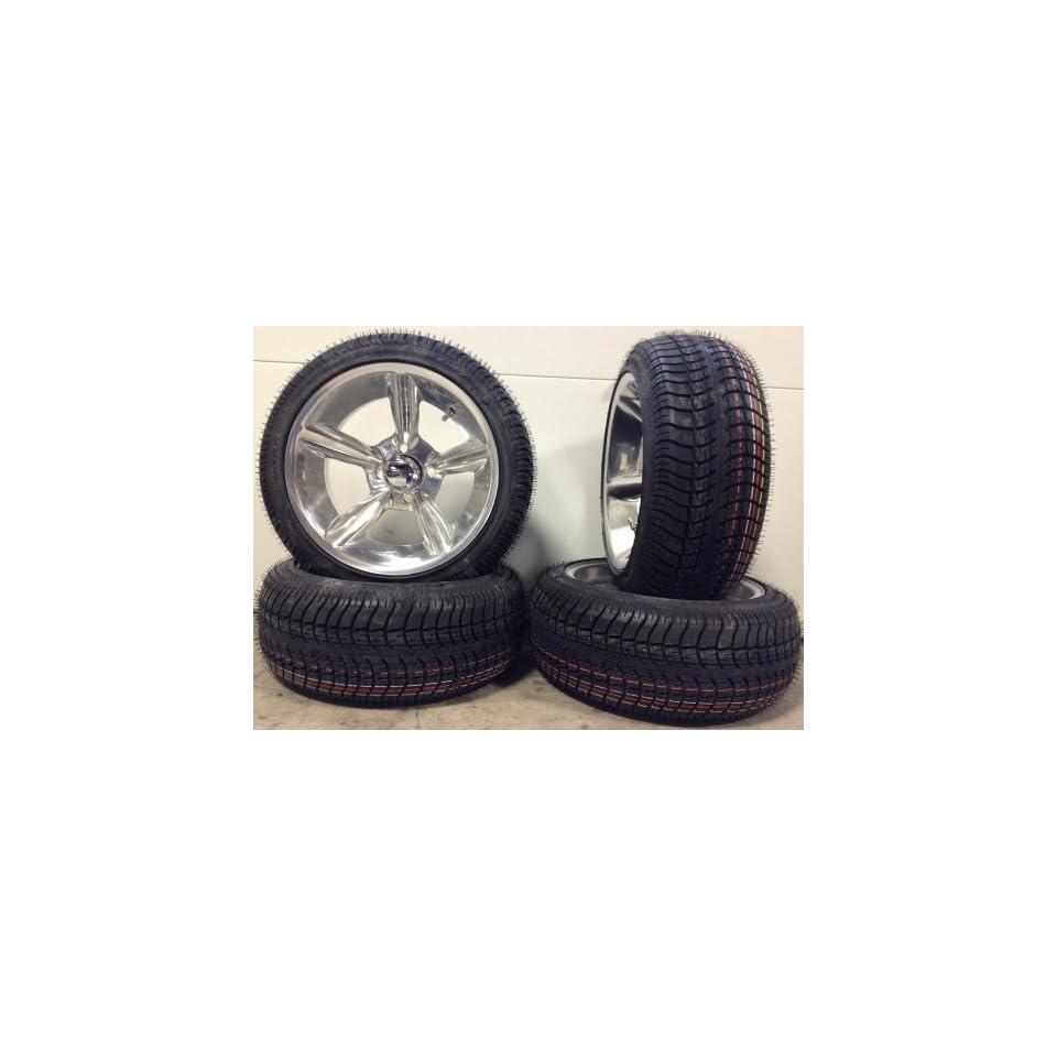 Bundle   9 Items Fairway Alloys Bullet Golf Wheels 14 205x30 14 Tires [for EZ GO & Club CarGolf Carts]