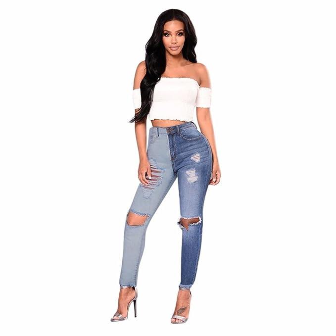 Amazon.com: Pantalones vaqueros para mujer de cintura alta ...