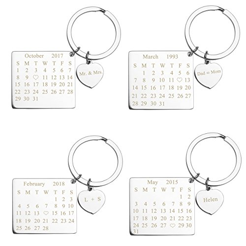 Zysta Stainless Steel Keychain Pendant Key Ring Heart Square Calendar Anniversary Special Date Custom (Engraving) (Engraved Heart Keychain)