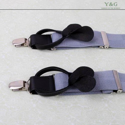 SP2002 Blue Checkered Leather Suspenders Excellent Gifts for Father Y-Back Clip-on Fantastic Gentlemen By Y&G by Y&G (Image #1)