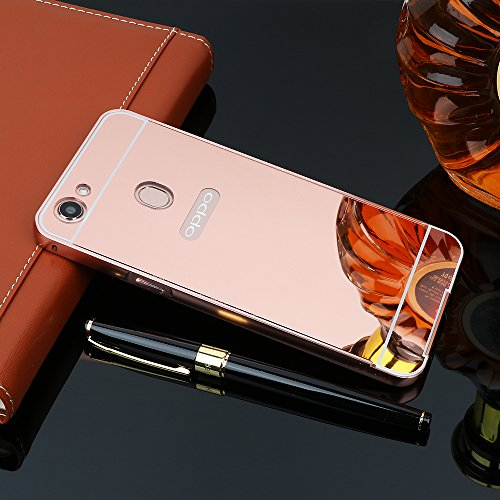 Oppo F7 Metal Case+ Screen Protector, ZLDECO Aluminum Metal Frame + Shiny  Mirror Hard Back Hybrid Cover with 1 Tempered Glass Screen Protector