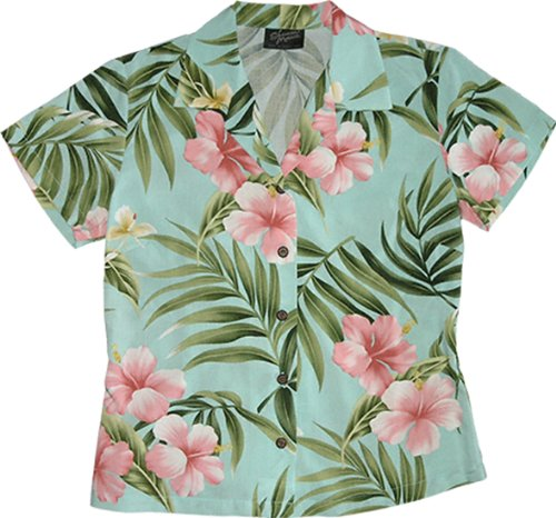 RJC Womens Pale Hibiscus Orchid Fitted Blouse Aqua ()