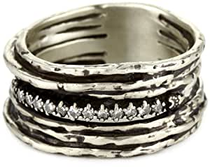 """Avindy Jewelry """"Chunky Diamond"""" Sterling Silver Diamond in the Rough Ring, Size 6"""