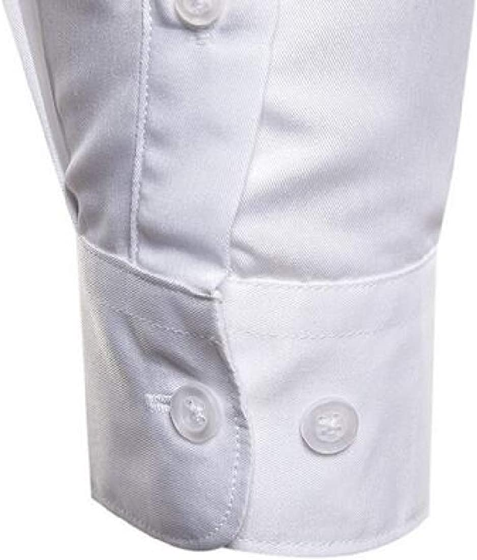 X-Future Mens Shirts Long Sleeve Embroidery Business Button Down Dress Work Shirt