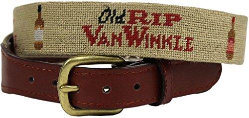 Old Rip Van Winkle (Pappy Van Winkle) Needlepoint Belt in Khaki by Smathers & - Van Pappy