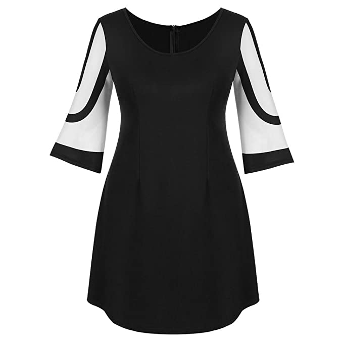 Misaky Womens Half Sleeve Dress Evening Party Casual Short Dress Simple and Plain