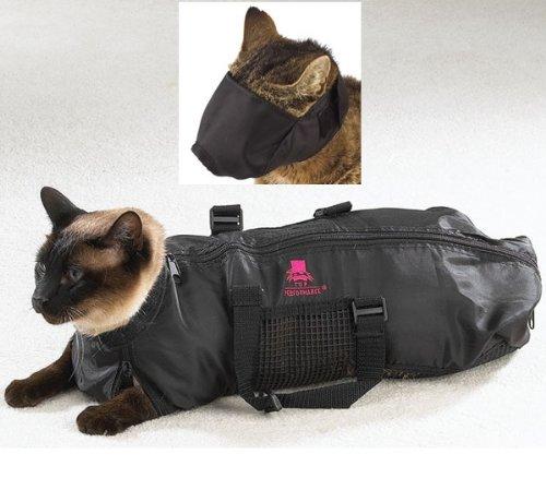 Downtown-Pet-Supply-MEDIUM-Cat-Grooming-Bag-FREE-Cat-Muzzle-Bag-measures-46-cm-Long-x-24-cm-Wide