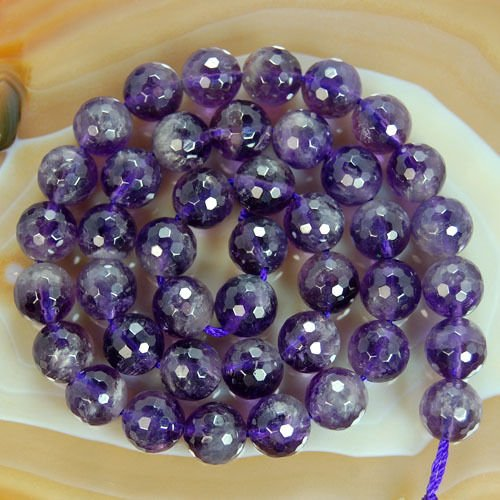 Round Faceted Amethyst Gemstone Beads (10mm) ()