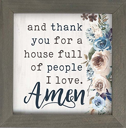 P Graham Dunn Thank You House Full People I Love Floral 7 x 7 Inch Pine Wood Framed Wall Art Plaque