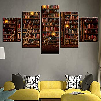 ZZXINK Canvas Prints Pictures Home Wall Art Decor 5 Pieces Fantasy Study Library Book Painting Cartoon Comic Poster Living room Background mural (Frame,L)