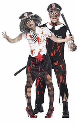 Cop Couple Costumes (Mens & Ladies Couples Fancy Dress Dead Zombie Policeman & Policewoman Cop WPC Latex Halloween Corpse Costumes Outfits (Ladies 8-10 & Mens Medium) by Fancy Me)