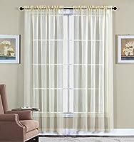 2 Piece Beautiful Sheer Window Elegance Curtains/drape/panels/treatment 60w X 63l (Beige)