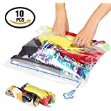 Lekors Travel Space Saver Bags - 5 Medium and 5 Large Roll Up Storage Bags - Pack of 10 Compression Packing Bags - Double Zipper - Reusable - No Vacuum or Pump Needed